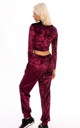 Crop Top Velvet Loungewear Co-Ord Set - Wine by Npire London