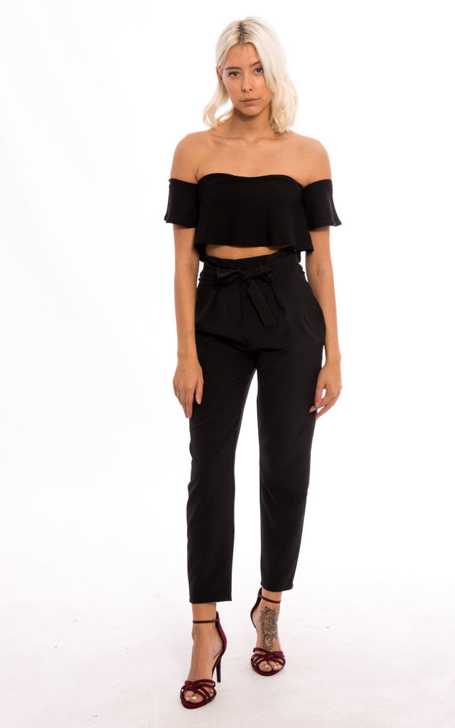 High Waisted Front Tie Pleated Trousers - Black by Npire London
