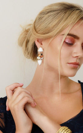 White Statement Earrings by Free Spirits