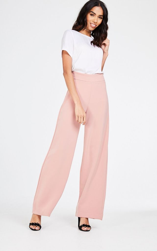 High Waisted Pink Flared Trousers by House Of Queens