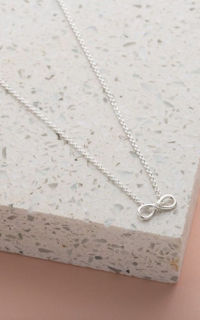 Mini Infinity Charm Necklace in Sterling Silver by Posh Totty Designs