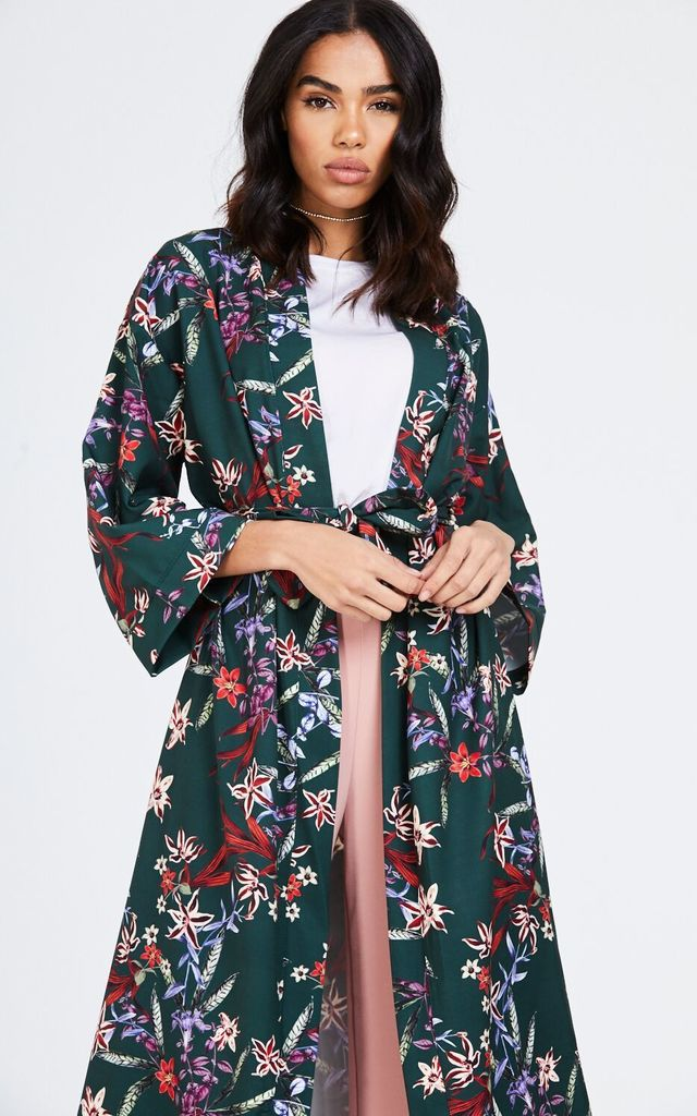 Long Floral Green Kimono Jacket by House Of Queens