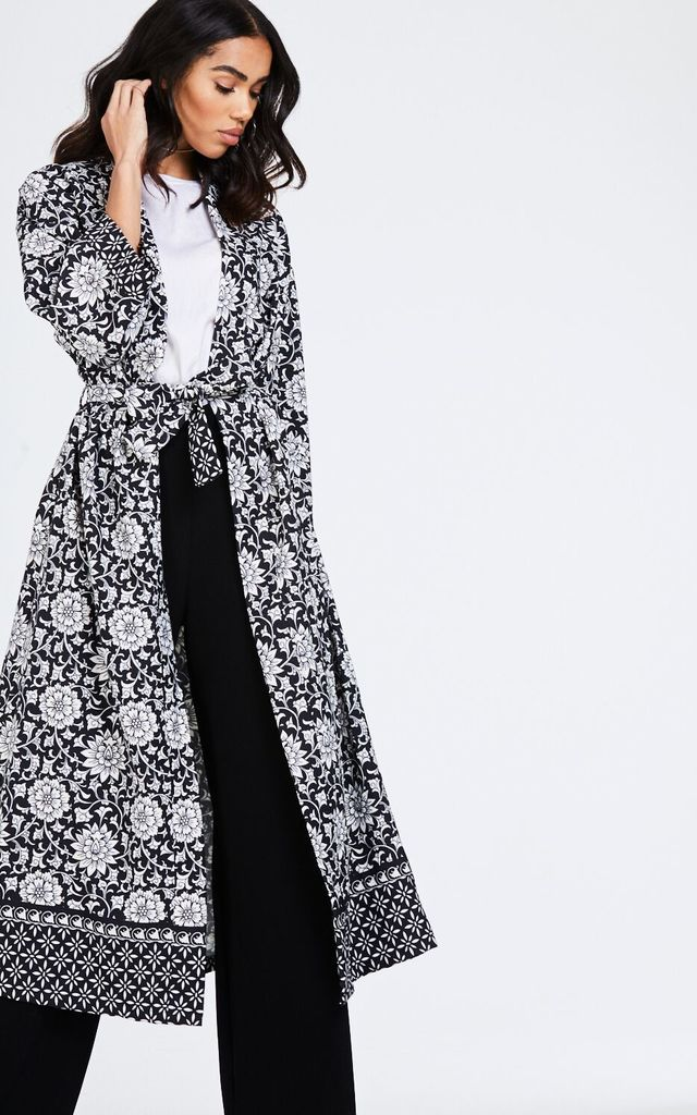 Long Printed Black Kimono Jacket by House Of Queens