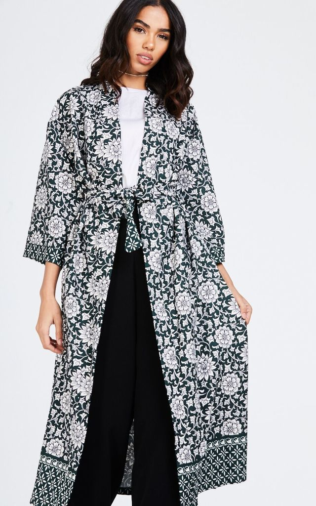 Long Printed Green Kimono Jacket by House Of Queens