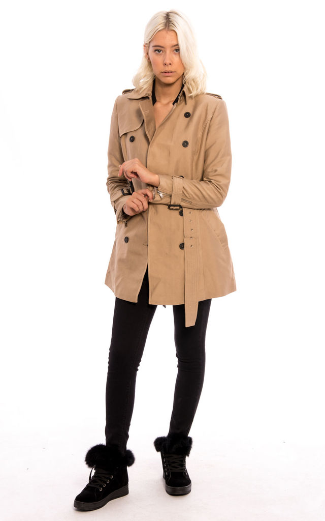 Double Breast Collar Belted Jacket - Stone by Npire London