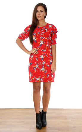 Show Me Your Frilly Side Dress - Red Poinsetta by Trollied Dolly