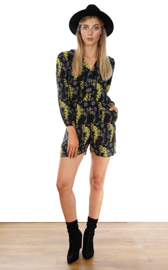 Shorty Playsuit - Black with Yellow Spray by Trollied Dolly