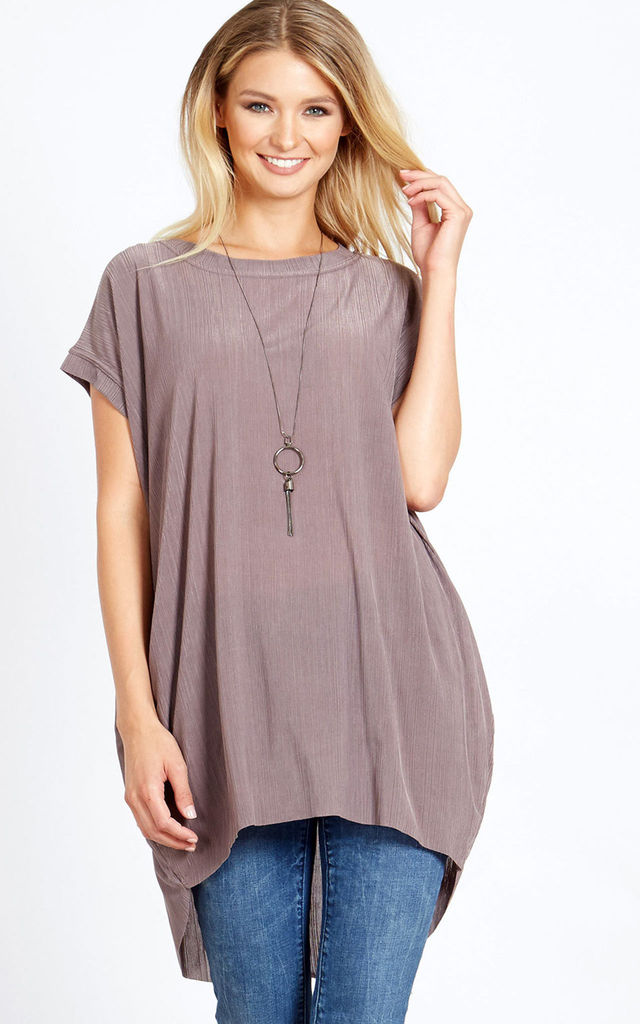 NAIA – Oversize Mink Top With Necklace by Blue Vanilla