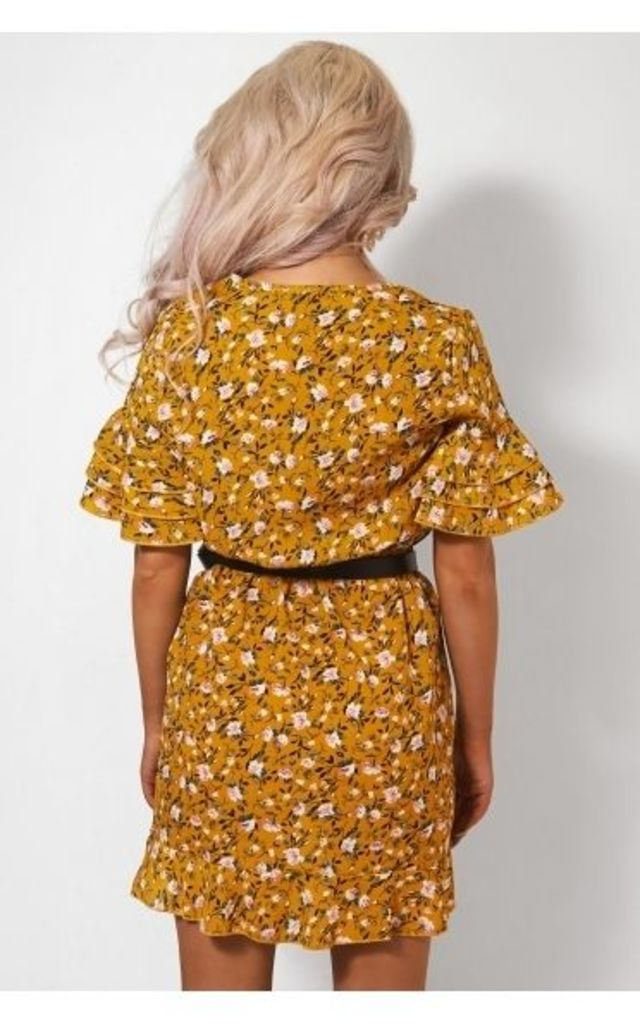 Lena Mustard Frill Dress by The Fashion Bible