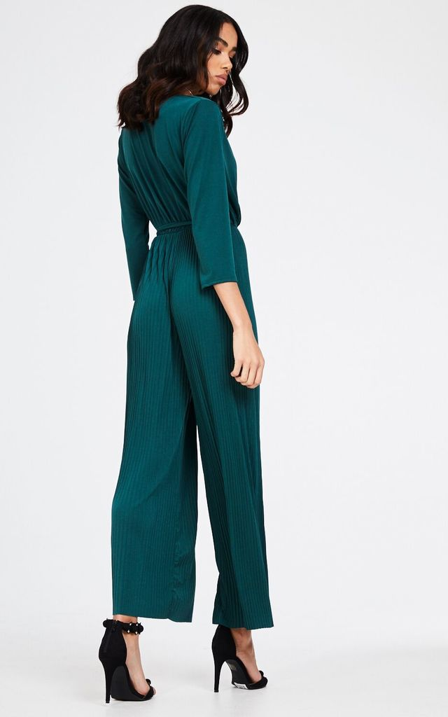 Flared Leg Green Pleated Jumpsuit by House Of Queens