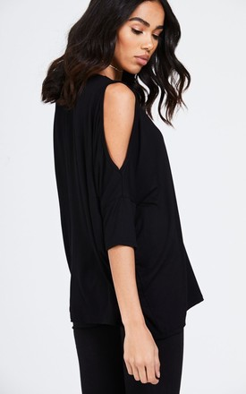 Cold Shoulder V-Neck Top by House Of Queens