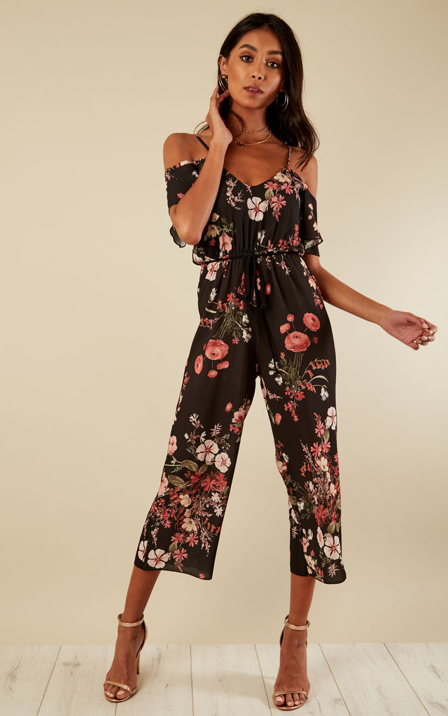 Black Floral Cold Shoulder Culotte Jumpsuit by Bella and Blue
