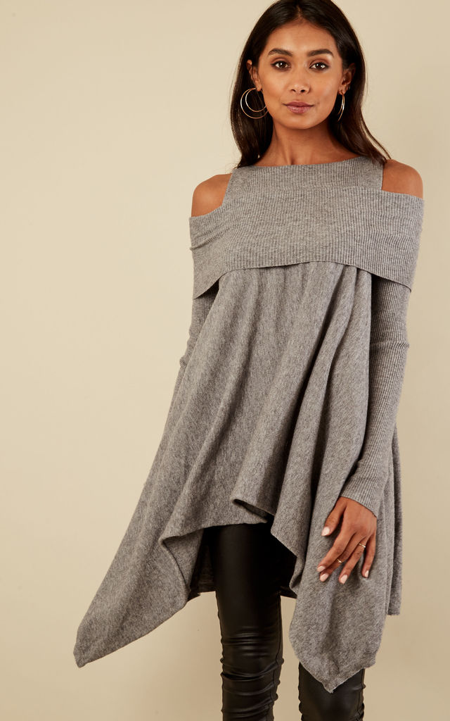 Grey Ribbed Cold Shoulder Waterfall Jumper by Lilah Rose
