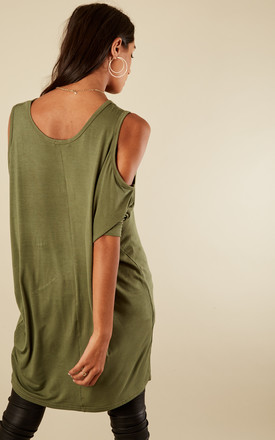 Khaki Cold Shoulder Jersey Batwing Top by Lilah Rose