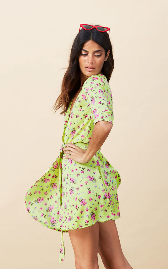 Zeina Dress in Lime Ditzy image