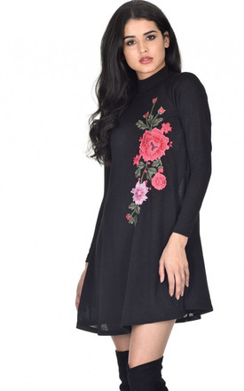 BLACK EMBROIDERED JUMPER DRESS by AX Paris