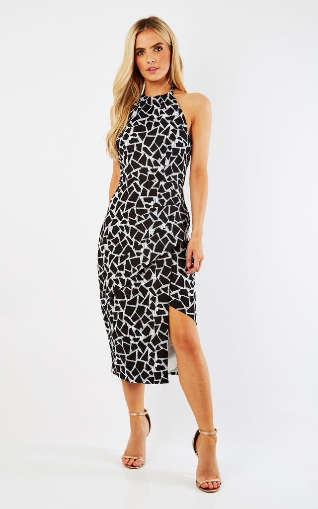 Abstract prints  Halter Neck  Midi Dress by D.Anna