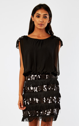 D.Anna Black Sequin Embellished Fringe Dress by D.Anna