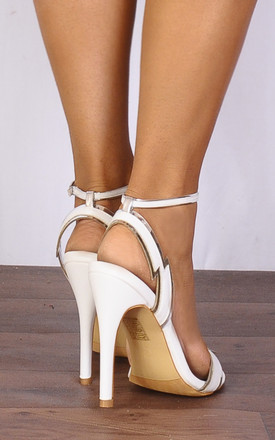 White Silver Lightning Barely There Stilettos Strappy Sandals High Heels by Shoe Closet