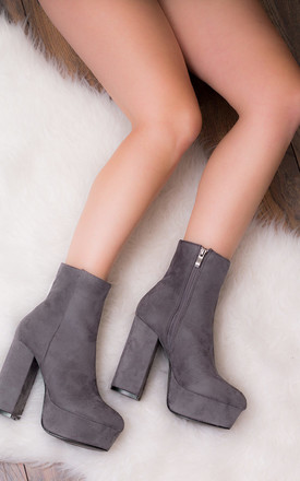 VIVACIOUS Platform Block Heel Ankle Boots Shoes - Grey Suede Style by SpyLoveBuy