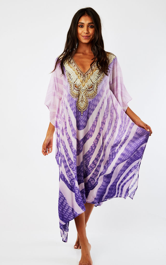 Alissa Midi Kaftan with long sleeves in Violet by Kitten Beachwear