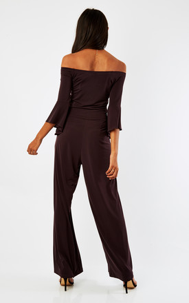 Burgundy Off The Shoulder Jumpsuit by Lady Flare