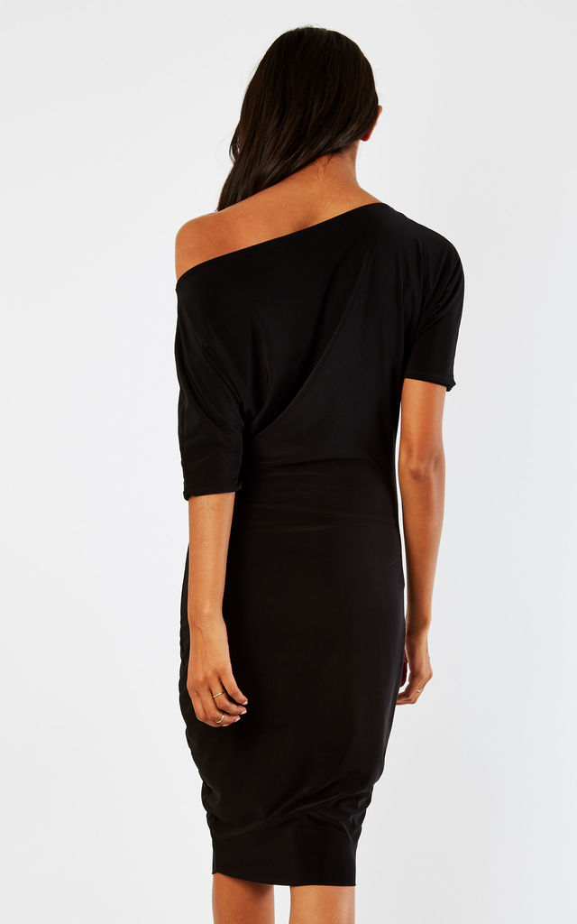 Black Lily One Shoulder 1/2 Sleeve Midi Dress by Pleat Boutique
