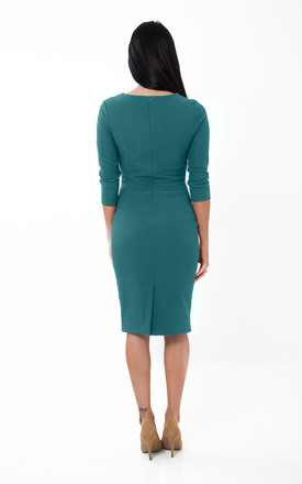 The Harper Persian Green 3/4 sleeve midi dress by Off the Catwalk