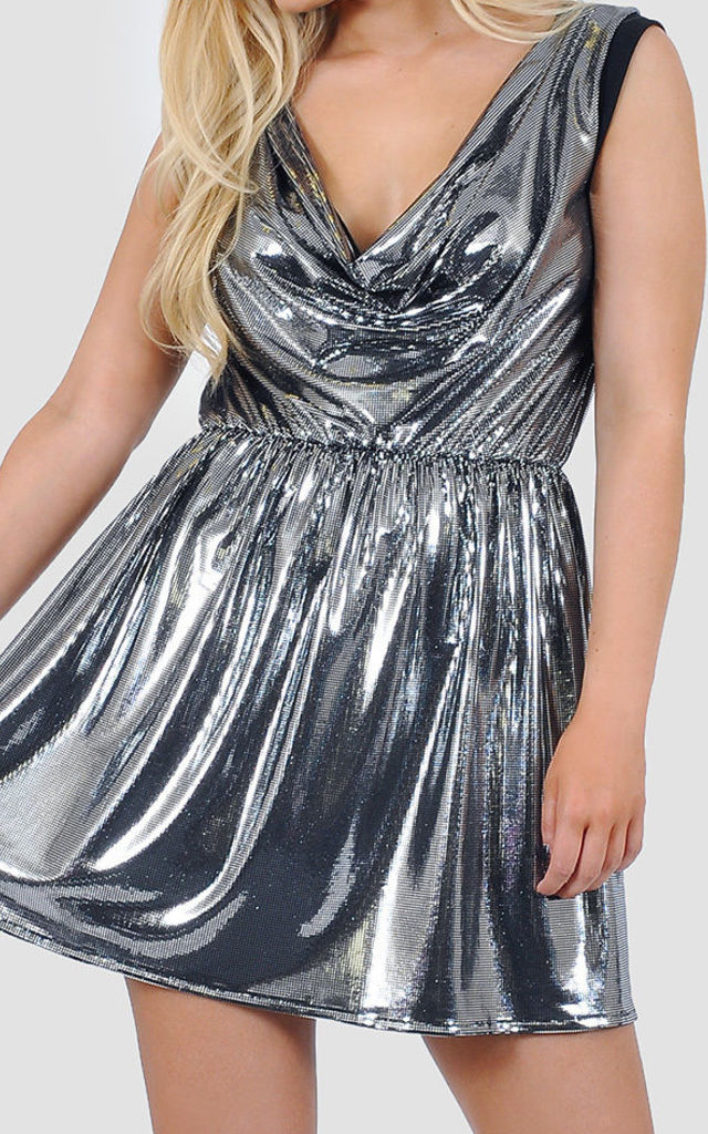 Cowl neck metallic skater dress by The Left Bank