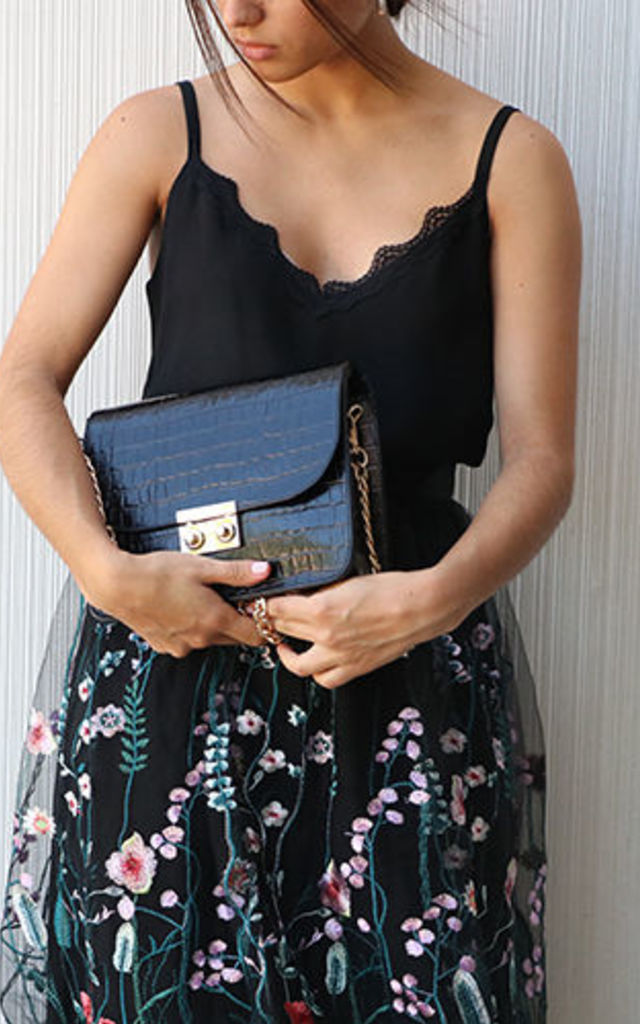 Black Lock Bag by THE CODE HANDBAGS