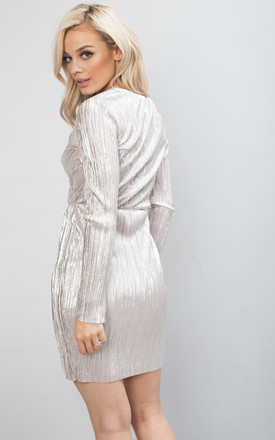 Metallic Pleated Wrap Over Skater Dress Silver by LILY LULU FASHION