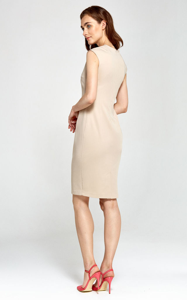 V Neck Midi Dress With Pencil Skirt Bottom in Beige by so.Nife