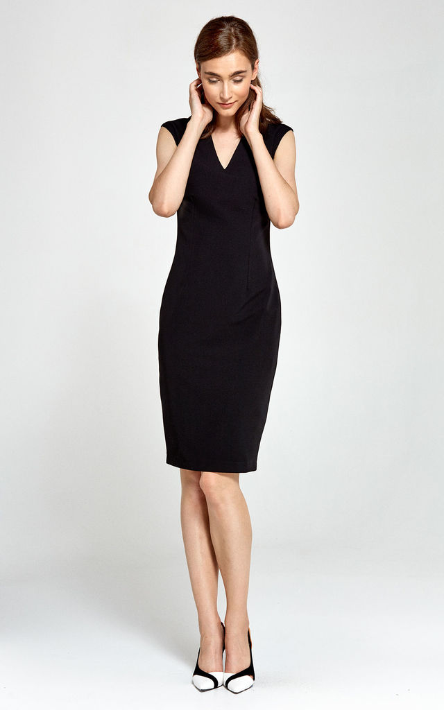 V Neck Midi Dress With Pencil Skirt Bottom in Black by so.Nife