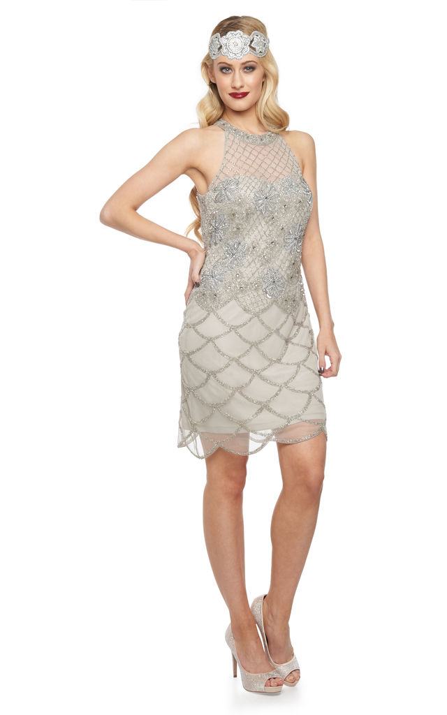Maddie Vintage Inspired Halter Neck Dress In Silver by Gatsbylady London