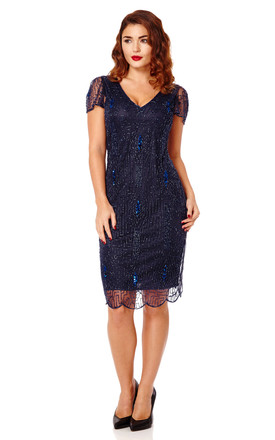 348efd60bf Downton Abbey Vintage Inspired Flapper Dress In Navy Blue