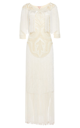 Glam Vintage Inspired Fringe Flapper Maxi Dress in Cream by Gatsbylady London