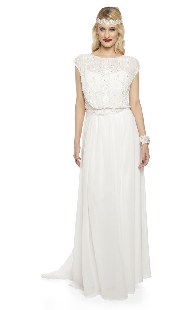 Roselyn Vintage Inspired Prom Maxi Wedding Dress In Off W... - SilkFred