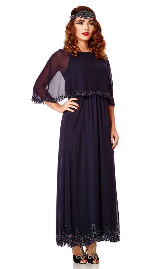 Carolyn Vintage Inspired Maxi Cape Dress in Navy Blue by Gatsbylady London