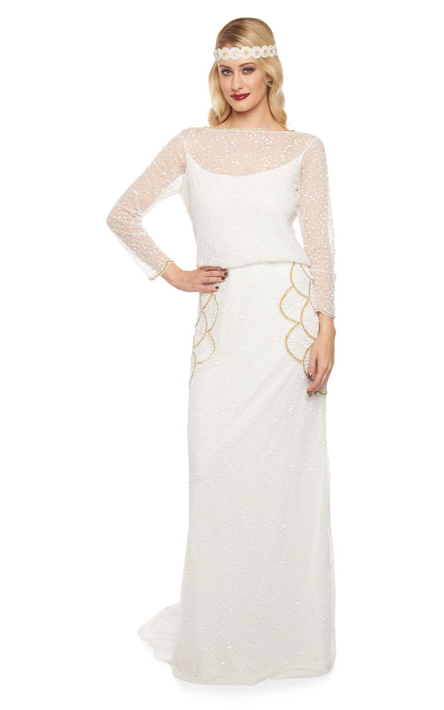 Brooklyn Wedding Gown In White Gold - SilkFred