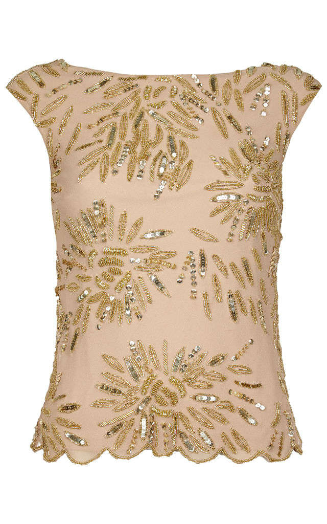 Dahlia Vintage Inspired Embellished Cowl Back Neck Top in Blush Gold by Gatsbylady London