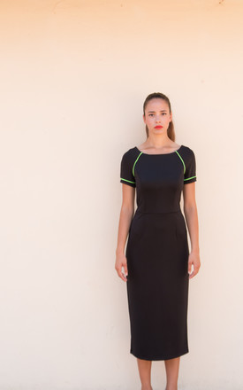 Isabel Short Sleeve Dress in Black by La Luna London
