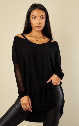 Black Mesh Sleeve Knit by Glamorous Product photo