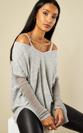 Grey Mesh Sleeve Knit by Glamorous Product photo
