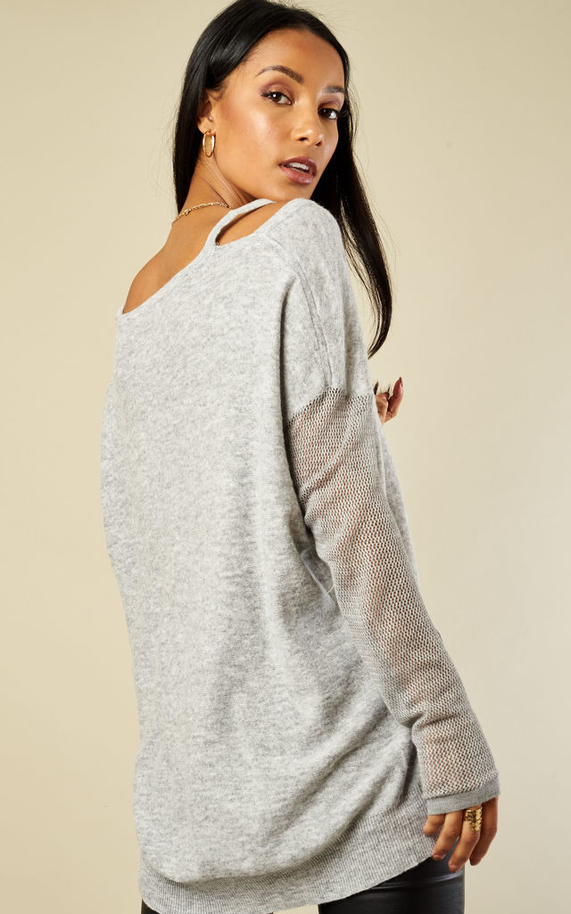 Grey Mesh Sleeve Knit by Glamorous