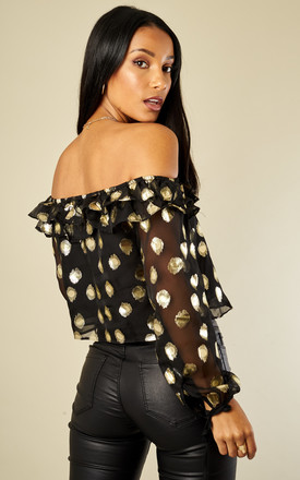 Black Gold Spot Top by Glamorous