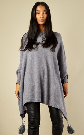 Grey Tassel Bottom Poncho Jumper by Bella and Blue Product photo