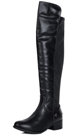 CORINNE Wide Fit High Tall Boots - Black Leather Style by SpyLoveBuy