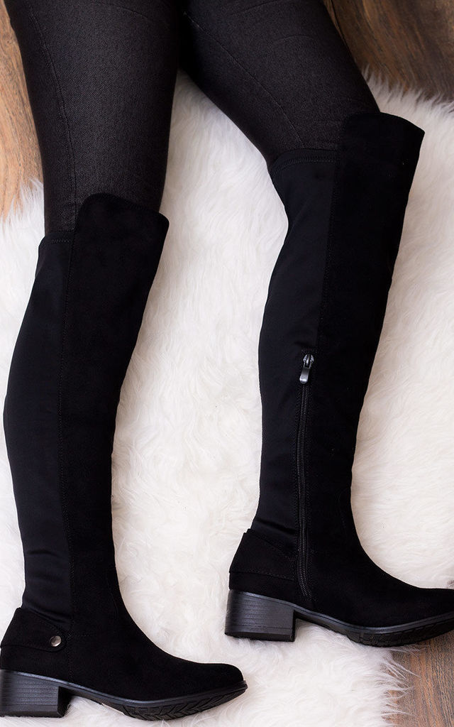 CORINNE Wide Fit Heel High Tall Boots - Black Suede Style by SpyLoveBuy