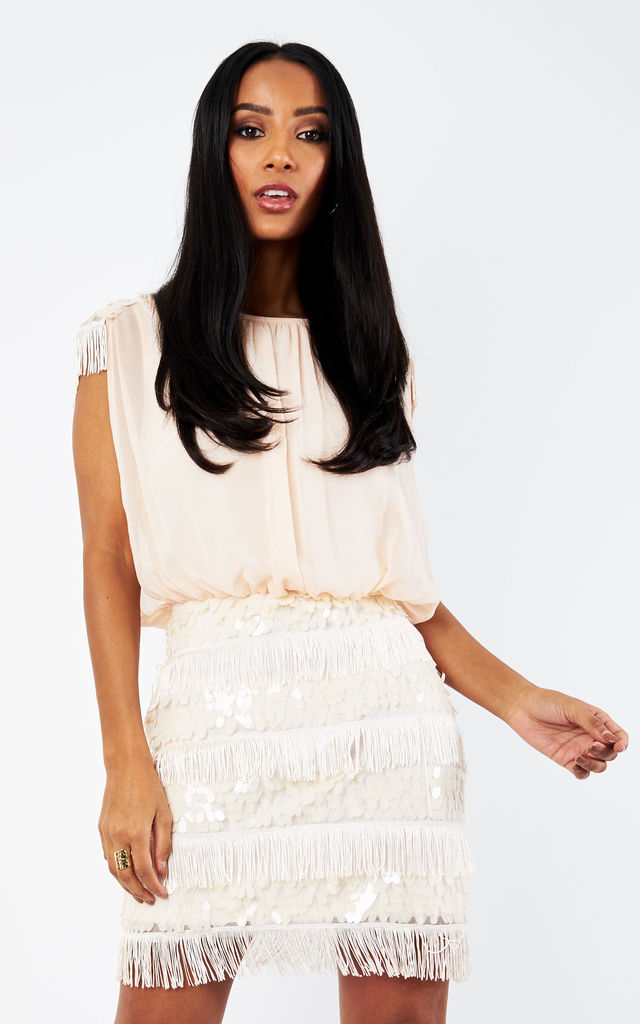 Nude Sequin Embellished Fringe Dress by D.Anna