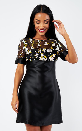Floral Embellished A Line Dress in Black by D.Anna